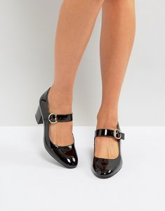 Read more about London rebel mid heel buckle mary-jane shoes - blk pat gold