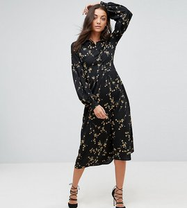 Read more about Fashion union tall high neck midi dress in grunge floral print - grunge floral