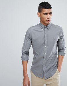 Read more about Polo ralph lauren slim fit garment dyed shirt polo player in grey - grey