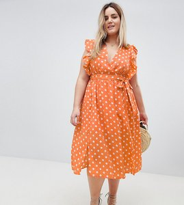 Read more about Glamorous curve sleeveless midi dress with flutter sleeves in polka dot - dusty peach dot