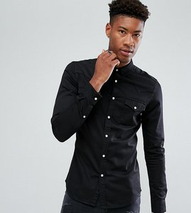 Read more about Asos design tall skinny denim western shirt in black - black