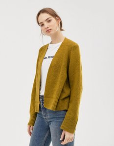 Read more about Asos design eco cardigan in fluffy yarn - olive