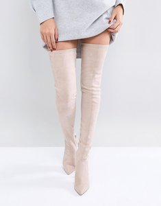 Read more about Asos kendra point over the knee boots - nude