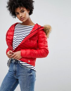 Read more about Vero moda faux fur hooded padded jacket - red