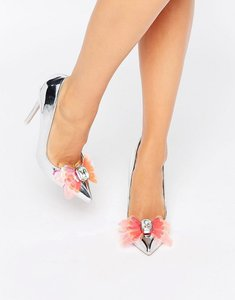 Read more about Asos payday embellished pointed high heels - silver