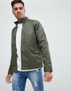 Read more about Asos design harrington jacket with funnel neck in khaki - khaki