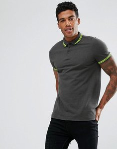 Read more about Asos tipping collar and cuff pique polo shirt in charcoal marl neon yellow - char marl neon yell