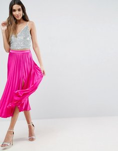 Read more about Asos satin pleated midi skirt with thigh split - fuschia