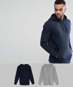 Read more about Asos longline hoodie 2 pack grey marl navy save - grey marl navy