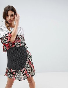 Read more about Asos mixed print ruffle mini smock dress - multi
