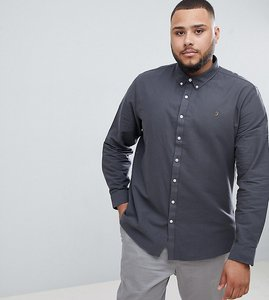 Read more about Farah brewer slim fit buttondown shirt in grey - grey