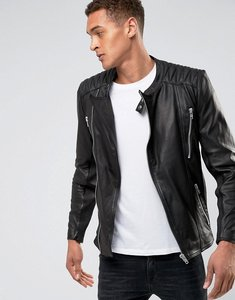 Read more about Casual friday leather biker jacket - black