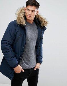 Read more about D-struct faux fur trimmed parka jacket - navy
