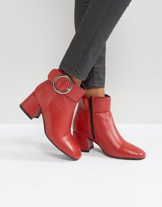 Read more about Park lane buckle mid heel leather boot - red leather