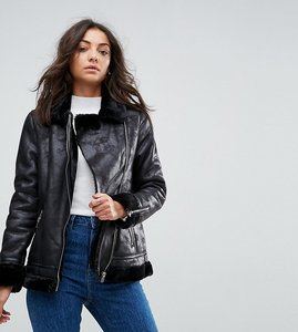 Read more about Glamorous tall aviator biker jacket with faux shearling lining - black