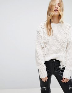 Read more about New look fringe whipstitch jumper - cream