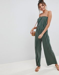 0f55dbbccc88 Read more about Asos design bandeau jersey jumpsuit with wide leg in  vertical stripe - green