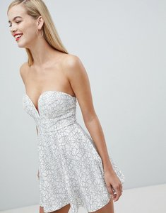 Read more about Rare london fit and flare lace contrast dress - white