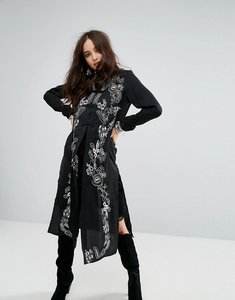 Read more about Honey punch premium high neck maxi jacket with ornate embroidery - black