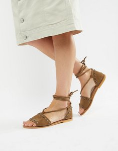 Read more about Asos design foster suede studded two part with tie leg - khaki suede