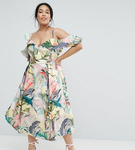 Read more about Asos curve floral ruffle prom midi dress - multi