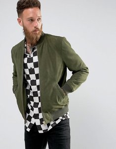 Read more about Black dust boli suede bomber jacket in dark green - dk green