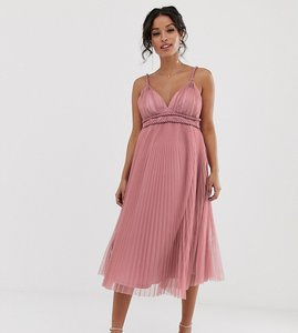 a43a17b9862fe Read more about Asos design maternity pleated tulle midi dress with twist  detail