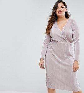 Read more about Asos curve plisse wrap front midi dress - mink