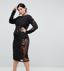 Read more about A star is born plus embellished long sleeve dress - black