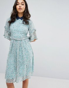 Read more about Lost ink double frill dress with contrast collar - mint green