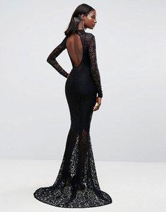 Read more about Club l allover lace fishtail maxi dress - black