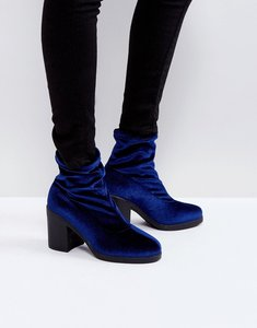 Read more about Truffle collection chunky heel sock boot - navy snake velvet
