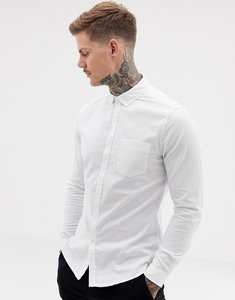 Read more about Asos casual slim oxford shirt in white - white