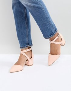 Read more about Raid debby pink studded patent mid heeled shoes - pink patent
