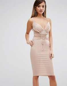 Read more about Club l slinky corset tie up detail cami midi dress - nude