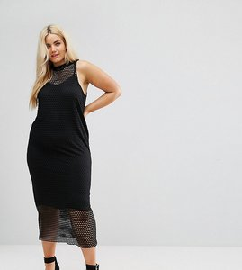 Read more about Asos curve 2 in 1 maxi dress in large mesh - black