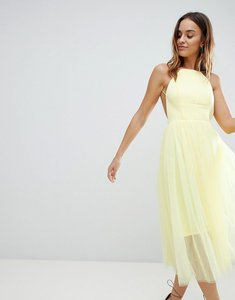 Read more about Asos design premium scuba pinny midi tulle dress - yellow