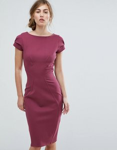 Read more about Closet london pencil dress with ruched cap sleeve - plum