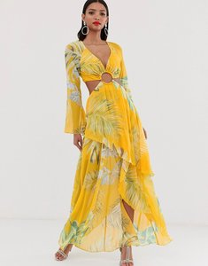 Read more about Asos design maxi dress with long sleeve and circle trim detail in tropical print