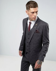 Read more about Harry brown skinny grey nep suit jacket - grey