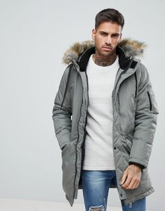 Read more about Bershka parka with faux fur hood in khaki - green
