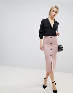Read more about Asos design ponte button front pencil skirt - nude