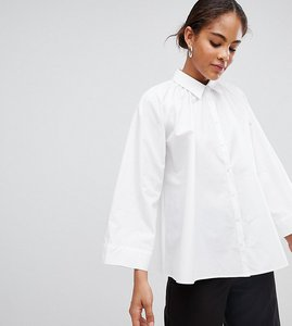 Read more about Asos white tall blouse with gather neck detail - white