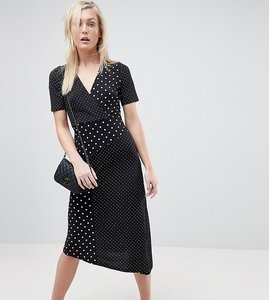 Read more about Asos tall midi wrap dress in mixed spot print with asymmetric hem - multi