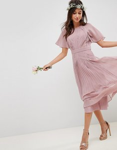 Read more about Asos design pleated panelled short sleeve midi dress with lace inserts - dusty pink