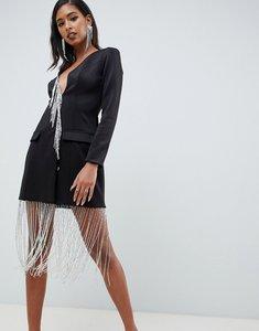 Read more about Asos design tux mini dress with diamante fringe - black