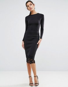 Read more about Asos pencil skirt in scuba with lace hem - black