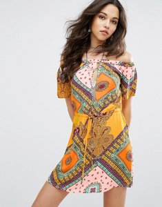 Read more about Missguided patchwork print bardot swing dress - yellow