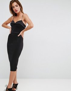 Read more about Asos scuba strappy pencil midi dress with lip - black