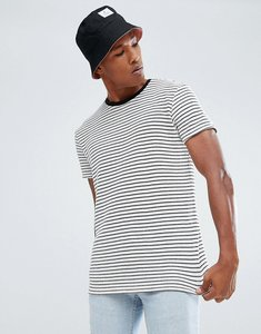 Read more about Bershka striped knitted t-shirt in ecru - ecru